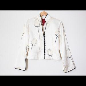 JS Collections 100% Silk Mandarin Collar Jacket